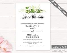Save the Date Card Template. Printable Save the Date. Greenery Save the Date. Wedding Printable. Spring Leaves Green Instant Download by VioletWeddingStore on Etsy