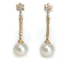 11mm Round White South Sea Pearl Earrings in 18k Yellow with Diamonds