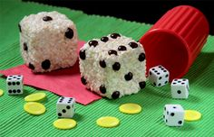 Game night Dice Crispies~~Great idea for my Craps loving boyfriend, Marty
