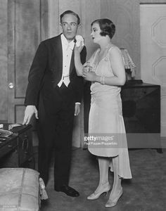 Actors Leslie Howard (1893-1943) as Andre Sallicel and Tallulah Bankhead (1902-1968) as Simone, rehearsing scenes for the play 'Her Cardboard Lover' at the Lyric Theatre, London, 1928.