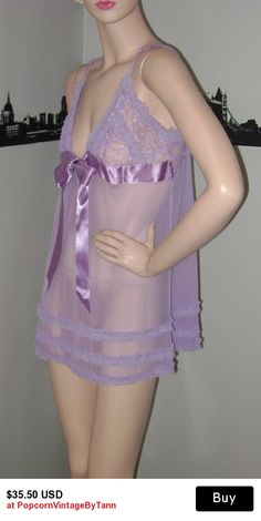 Sexy Vintage Lavender Lace Babydoll Negligee Lingerie Sheer Pin Up  Burlesque Chemise Nightie Wedding Night Honeymoon 77ea6e36a