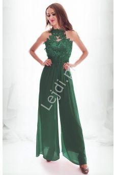 Wieczorowy Kombinezon Szyfonowy Zdobiony Kwiatami 3d W Kolorze Butelkowej Zieleni 1313 Fashion Dresses Fashion Dresses