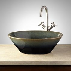 Hounsfield Hand-Glazed Pottery Vessel Sink - Midnight Blue