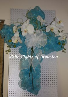 Turquoise with White Accents Deco Mesh Cross for by britelights, $89.99