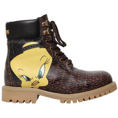 MOSCHINO Tweety & Logo Printed Leather Boots ($792) ❤ liked on Polyvore featuring shoes, boots, brown, moschino, genuine leather shoes, real leather shoes, leather footwear, rubber sole shoes and logo boots