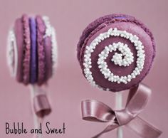 look at these pretty pops by Bubble and Sweet - why not lollipop macarons for your next party?