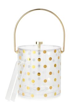 Calling all cocktail loving couples! A fun gold-dotted ice bucket by kate spade new york turns your new home into the ultimate party pad. Just add ice!