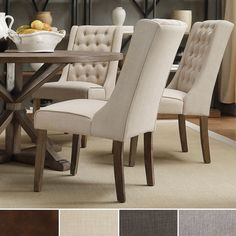 Add sophistication and comfort to your living space with a set of INSPIRE Q Evelyn tufted wing back hostess chairs. These thickly padded, button-tufted back seats are fully upholstered with a natural ...