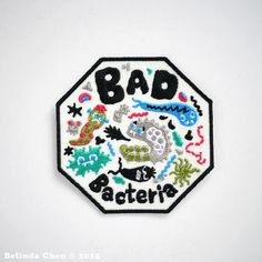 Bad Bacteria Patch is 7.8 x 7.8 cm This bad boy is super cool and colorful! PLEASE NOTE /// This patch is currently very low in stock and will not be