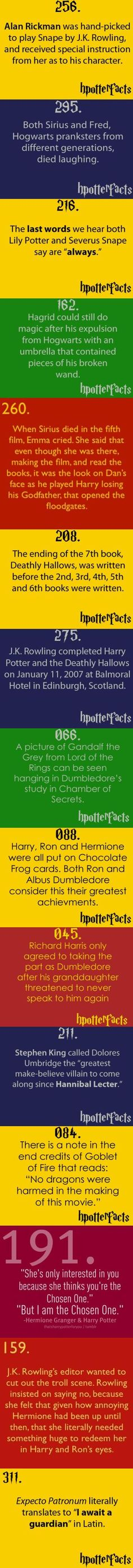 HP facts, I knew some of these but others were really cool
