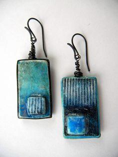 """Blue Enamel"" - earrings | by Sonya's Polymer creations"