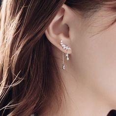 Cute Crystal Angel Wing Pendant Silver Dangle Drop Earrings Studs