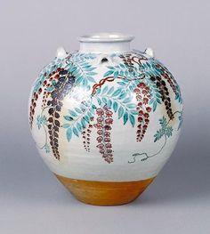 色絵藤花文茶壺   作者野々村仁清 時代江戸時代 17世紀 サイズ高28.8 口径10.1 胴径27.3 底径10.5…