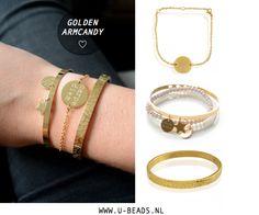 GOLD! We love gold! Creëer een gave armparty met jouw favoriete gouden sieraden! www.u-beads.nl  Voor 16.00 uur besteld = dezelfde dag verzonden.   Altijd GRATIS verzending binnen NL en BE!