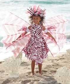 lionfish girls costume - Only at Chasing Fireflies - Lions and tigers and fishes, oh my! Your exotic lionfish wears a pleated and flocked dress with feathered detailing. Its maroon stripes swirl here, there and everywhere.