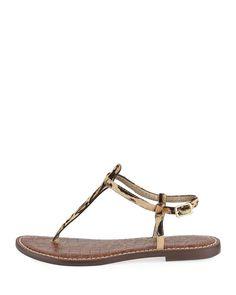 f342124de0be8 Sam Edelman Gigi Leopard-Print Calf-Hair Thong Sandal