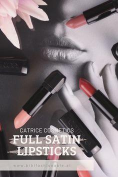"""Seid ihr Team Liquid Lipstick oder greift ihr doch lieber zu herkömmlicher Lipsticks? Ich selbst habe wieder zu meinen """"alten"""" Lipsticks zurückgefunden. Besonders gut gefallen mir von CATRICE Cosmetics die Full Satin Lipsticks. Die haben ein wunderschönes Finish, dass die Lippen nicht trocken aussehen lässt. Außerdem geben sie super Farbe ab. Die Farbrange die CATRICE Cosmetics anbietet finde ich auch sehr gelungen - von Nudetöne, über Orange, Rot bishin zu Violett ist alles dabei. Satin Lipstick, Lipgloss, Liquid Lipstick, Lipbalm, Peeling, Sunscreen, Anti Aging, Beauty Products, Hair Care"""