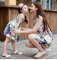 ed5585236b4b3f Cute Tide Vest Sleeveless Matching Dress. Moeder Dochter ...