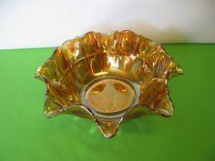 Vintage Bowl Fenton Carnival Glass Long by hazeleyesartglassetc $44.99