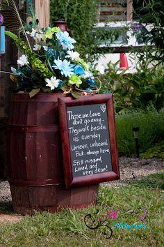 memory arrangement using old wine barrel and old lantern...