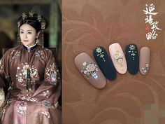 Yanxi Palace inspired manicure that will make you fall in love with ancient Chinese fashion! Dress up your nails before Mid-Autumn Festival 24 September, and you can get a free of Hilton Mooncakes. Red Nail Designs, Simple Nail Art Designs, Easy Nail Art, Cool Nail Art, New Years Nail Art, Asian Nails, Vintage Nails, New Year's Nails, 3d Nails