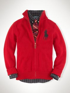 Big Pony Full-Zip Sweater - Boys 8-20 Sweaters - RalphLauren.com Christmas Outfit.