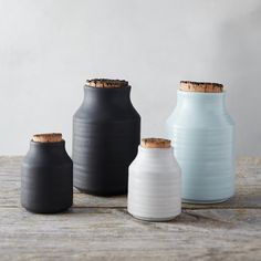 """Handmade especially for terrain, this glazed stoneware storage jar is paired with a natural cork lid. The smaller size is ideal for storing spices, salt, and pepper.- A terrain exclusive- Glazed stoneware, cork- Food safe- Hand wash- ImportedSmall: 3""""H, 1.5"""" diameter at mouth, 2.25"""" diameter at baseLarge: 5""""H, 2.25"""" diameter at mouth, 3.25"""" diameter at base"""
