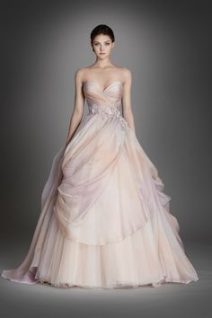 Lazaro watercolor wedding dress. Bridal collection 2015-2016