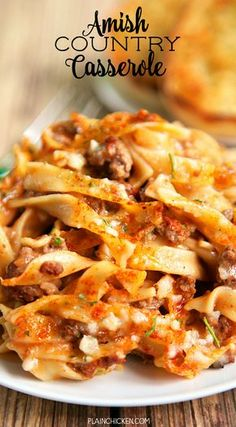Amish Country Casserole - comfort food at its best! Beef Dishes, Pasta Dishes, Food Dishes, Main Dishes, Hamburger Dishes, Rice Pasta, Amish Country Casserole Recipe, Amish Recipes, Cooking Recipes