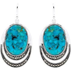 Malin + Mila Silverplated Turquoise and Marcasite Dangling Hook... (94 BRL) ❤ liked on Polyvore featuring jewelry, earrings, blue, turquoise dangle earrings, blue turquoise earrings, turquoise blue jewellery, fish hook jewelry and marcasite jewelry