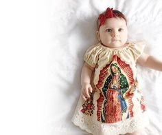 Mexican Our lady of Guadalupe baby dress in Cream by JMhandmade