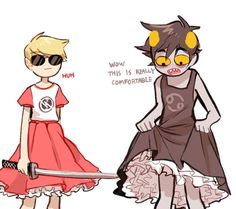 Karkat and Dave in dresses... they look so cute i want all the boys in homestuck to wear dresses ouo