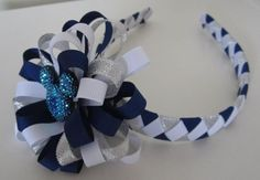 Silver and Navy Woven Headband with by pinkpolarisboutique on Etsy, $12.00