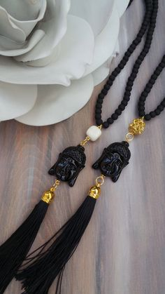 Long beaded buddha tassel necklace. Buddha by AllAboutEveCreations