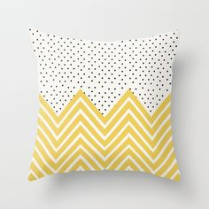 """Chartreuse Chevron and dots"" Throw Pillow by Allyson Johnson on Society6."