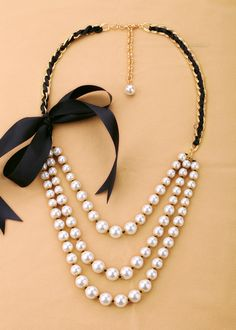 Three Layers Simulated Pearl Necklace  - New In