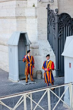 Vatican When you come outside of the Vatican onto St Peters Square. there are Swiss guards always on duty.