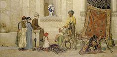 Street scene with a carpet dealer. Osman Hamidi Bey.
