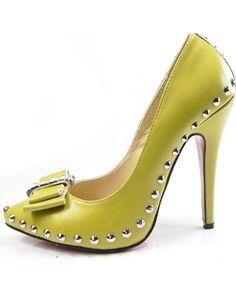 Yellow 4 3/4'' Heel Sheepskin Womens Bow Fashion Shoes