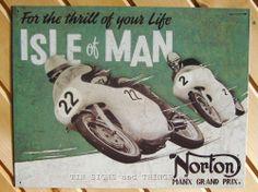 Norton Motorcycles Isle of Man TIN SIGN metal wall decor bar racing poster 1704