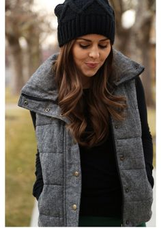 must. have. this. vest. (old navy). and the beanie is cute, too (target).