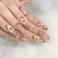 Gold Stiletto Nails, Coffin Nails Ombre, Pink Acrylic Nails, Sparkly Nails, Purple Nails, Square Nail Designs, Cute Nail Art Designs, 3d Flower Nails, Diamond Nail Art