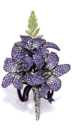 Boutonnière brooch, gold, titanium, diamonds, purple sapphires, tsavorite garnets, Michele della Valle.