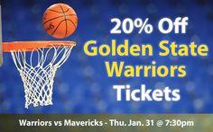 $68 (20% off) Golden State Warriors Tickets vs Dallas Mavericks Thu. Jan. 31 @ 7:30pm - Crowd Seats Cheap Sports Tickets