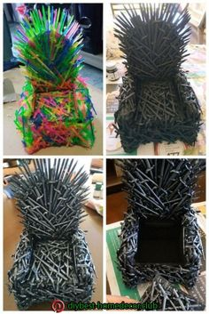 Iron throne DIY from Game of Thrones made from plastic swords and paperboard. Iron throne DIY from Game of Thrones made from plastic swords and paperboard. Diy Crafts Videos, Diy Crafts To Sell, Arts And Crafts, Game Of Thrones Party, Game Of Thrones Decor, Game Of Thrones Gifts, Geek Decor, Ideias Diy, Iron Throne