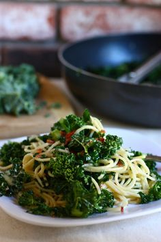 Spaghetti with kale, bacon and brie. Wow, amazing combination!