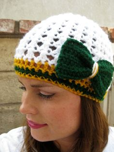 Cutest packer hat ever! - Or if Orange and Teal Cutest Dolphin hat - Or if Black and Turquoise Cutest Panthers hat.....etc.