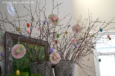 Easter Tree made with Accordion Paper Flowers and Easter Eggs