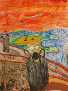 The Scream: watercolour and oil pastel on paper created by a child in Emma's Art Room Surface Pattern Design, Textile Design, Scream, Crafts To Make, Watercolour, Pastel, Children, Room, Painting