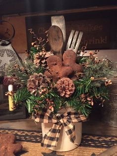 "Nice idea for Christmas kitchen decor. Make cinnamon/glue ""cookies"" for fragranc. - New Ideas Christmas Porch, Prim Christmas, Christmas Kitchen, Country Christmas, Vintage Christmas, Christmas Holidays, Christmas Wreaths, Christmas Ornaments, Cowboy Christmas"